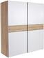 Schwebetürenschrank Wiki 170cm Eiche Dekor/weiss - Weiß/Sonoma Eiche, KONVENTIONELL, Holzwerkstoff (170/196/60cm)