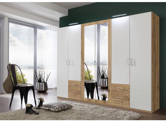 Skříň S Otočnými Dveřmi Freiburg - bílá/barvy dubu, Moderní, kompozitní dřevo (270/208/58cm)