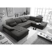 Wohnlandschaft in U-Form Wayne ca. 188x340x240 cm - Dunkelgrau/Silberfarben, KONVENTIONELL, Holzwerkstoff/Textil (188/340/240cm) - Carryhome