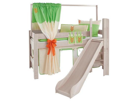 Spielbett Leo 90x200 cm Buche/ Weiß - Naturfarben/Orange, Design, Holz/Textil (90/200cm)