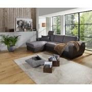 Wohnlandschaft in L-Form Montreal 168x258 cm - Dunkelgrau/Schwarz, KONVENTIONELL, Holzwerkstoff/Kunststoff (168/258cm) - Ombra