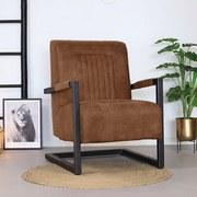 Sessel Austin Lederlook Braun - Schwarz/Braun, MODERN, Textil/Metall (65/88/81cm) - Livetastic