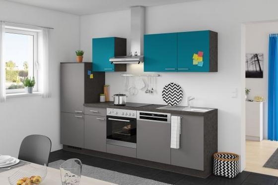 Küchenzeile Win/plan 280 cm Anthrazit/türkis - Türkis/Anthrazit, MODERN, Holzwerkstoff (280cm) - Express