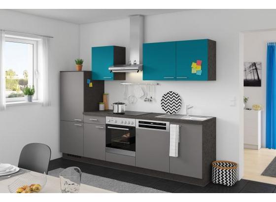 k chenzeile in grau t rkis 5 e ger te und sp le. Black Bedroom Furniture Sets. Home Design Ideas