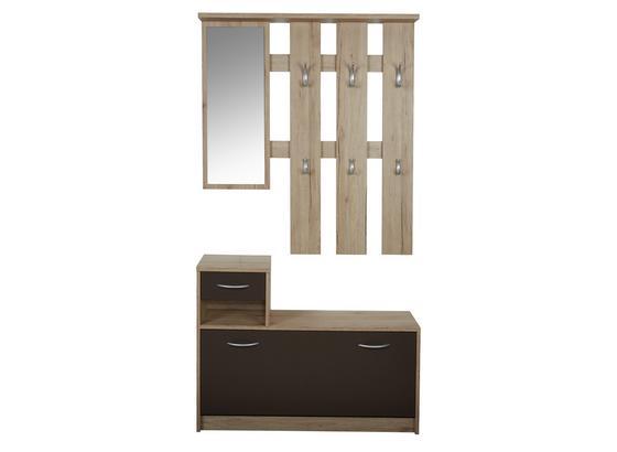 Šatník Iza - farby dubu/hnedá, Konvenčný, kompozitné drevo/sklo (100/190/26cm)
