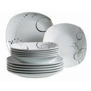 Tafelservice 12-Tlg. Tafelservice Chanson - Schwarz/Weiß, Basics, Keramik (29/24,5/30,5cm)