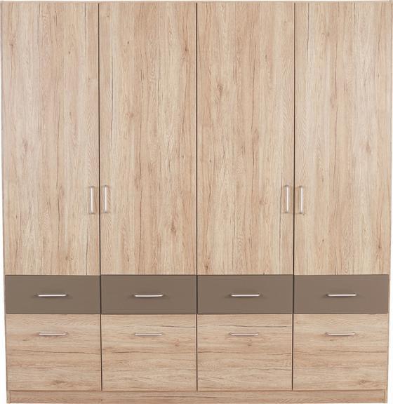 Kleiderschrank Aalen Extra, 181cm - Eichefarben/Grau, KONVENTIONELL, Holzwerkstoff (181/197/54cm)