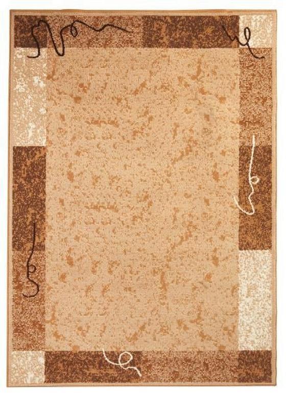 Webteppich mit Bordüre - Creme, KONVENTIONELL, Textil (100/160cm) - Ombra