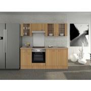 Küchenblock Nano 210 cm Buche - Edelstahlfarben/Buchefarben, MODERN, Holzwerkstoff (210/60cm) - Bessagi Home