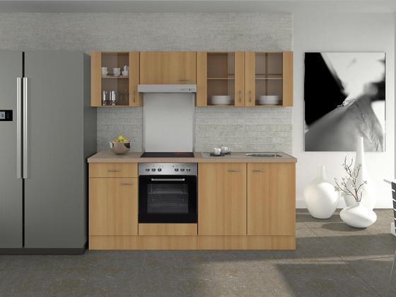 Küchenblock Nano 210 cm Buche - Edelstahlfarben/Buchefarben, MODERN, Holzwerkstoff (210/60cm)