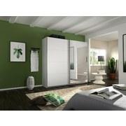 Schwebetürenschrank Belluno B:226cm Weiß/spiegel - Weiß, MODERN, Holzwerkstoff (226/230/62cm)