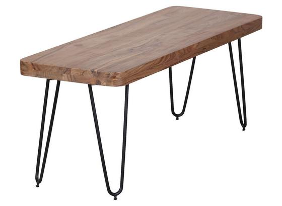 Sitzbank Bagli B: ca. 120 cm - Schwarz/Akaziefarben, MODERN, Holz (120/45/40cm) - MID.YOU