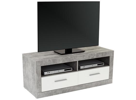Tv Díl Malta - šedá/bílá, Moderní, kompozitní dřevo (128/50/42cm)