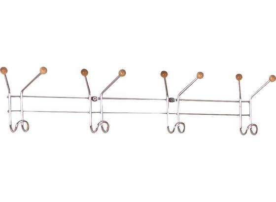 Lišta S Háčky Karl - barvy chromu, Design, kov/dřevo (60/12/5cm) - Boxxx