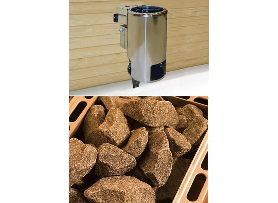 Saunaofen Set 3,6 Kw, Kompakt 230 V - Alufarben, MODERN, Metall (32,5/51/41cm)
