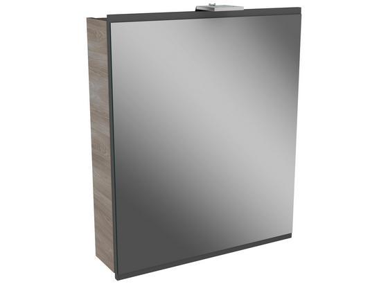 Spiegelschrank mit Türdämpfer + Led Lima B: 60cm, Grau+esche - Eschefarben, MODERN, Glas/Holzwerkstoff (60/73/15,5cm) - Fackelmann