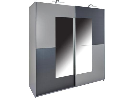 Schwebetürenschrank mit Spiegel 180cm Taifun, Graphit Dekor - Graphitfarben/Alufarben, ROMANTIK / LANDHAUS, Holz/Holzwerkstoff (180/198/64cm)