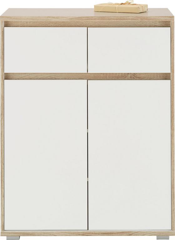 Komoda Pluto - bílá/Sonoma dub, Moderní, kompozitní dřevo (80/103/48cm)