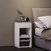 Beistelltisch mit Schublade Sledo Max B: 35 cm Weiß - Weiß, KONVENTIONELL, Holzwerkstoff (35/65/35cm) - MID.YOU