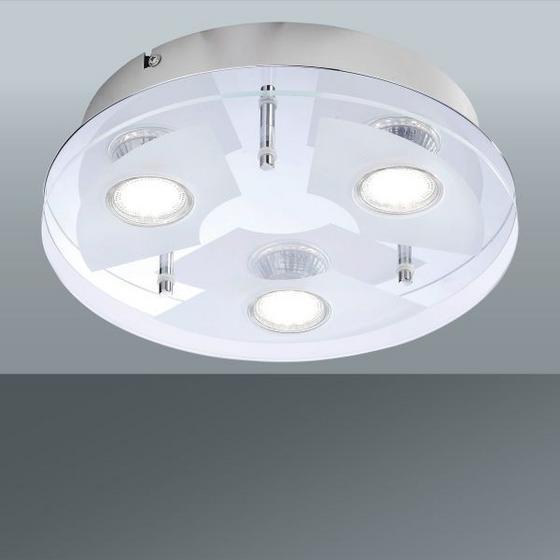 Stropná Lampa Stefan - biela/farby chrómu, Konvenčný, kov/sklo (27/7cm)