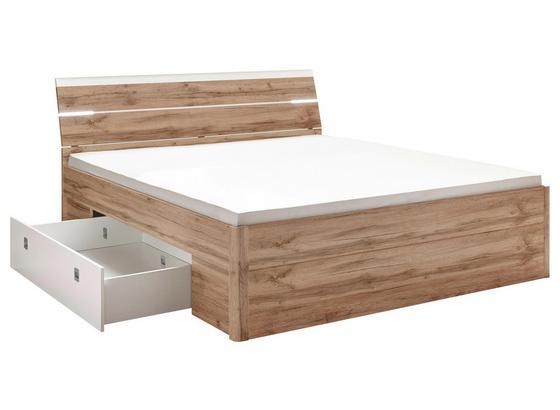 Bett inkl. Laden + Led 180x200 Mars, Weiß/Wildeiche - Eichefarben/Weiß, MODERN, Holzwerkstoff (180/200cm) - MID.YOU