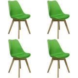 Stuhl-Set Woody Limette mit Sitzauflage, 4er-Set - Limette/Naturfarben, MODERN, Holz/Kunststoff (48/83/48cm) - MID.YOU