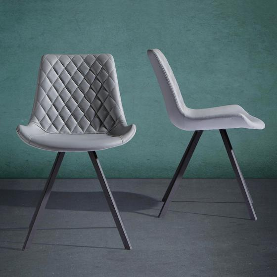 Židle Rieke - černá/světle šedá, Moderní, kov/dřevo (51,5/80/58cm) - Modern Living