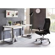 Schreibtisch Carlie B: ca. 140 cm Weiß - Silberfarben/Weiß, MODERN, Holzwerkstoff/Metall (140/77/70cm) - MID.YOU