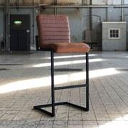 Barhocker-Set Block 2-er Set Braun - Schwarz/Braun, MODERN, Leder/Metall (50/113/43cm) - Livetastic