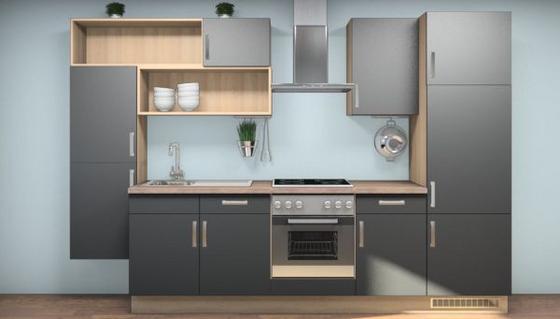 Küchenblock Laura 320 cm Eiche San Remo/Schwarz - Eichefarben/Magnolie, MODERN, Holzwerkstoff (320cm) - Vertico