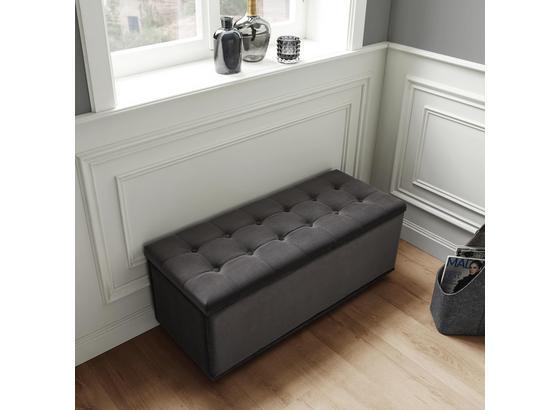 Lavice Finja - tmavě šedá, Moderní, dřevo/textil (102/41/42cm) - Modern Living
