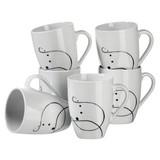 Kaffeebecherset 6-Tlg. Kaffeebecherset Chanson - Schwarz/Weiß, Basics, Keramik (30,5/22,4/14cm)