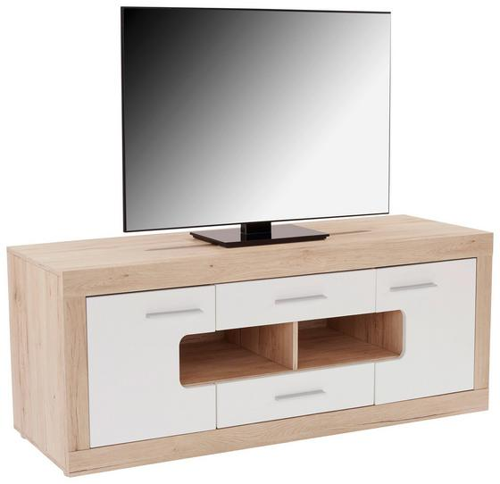 Médiaállvány Malta Myf01 - tölgy színű/fehér, modern, faanyagok (160/57/41,8cm)