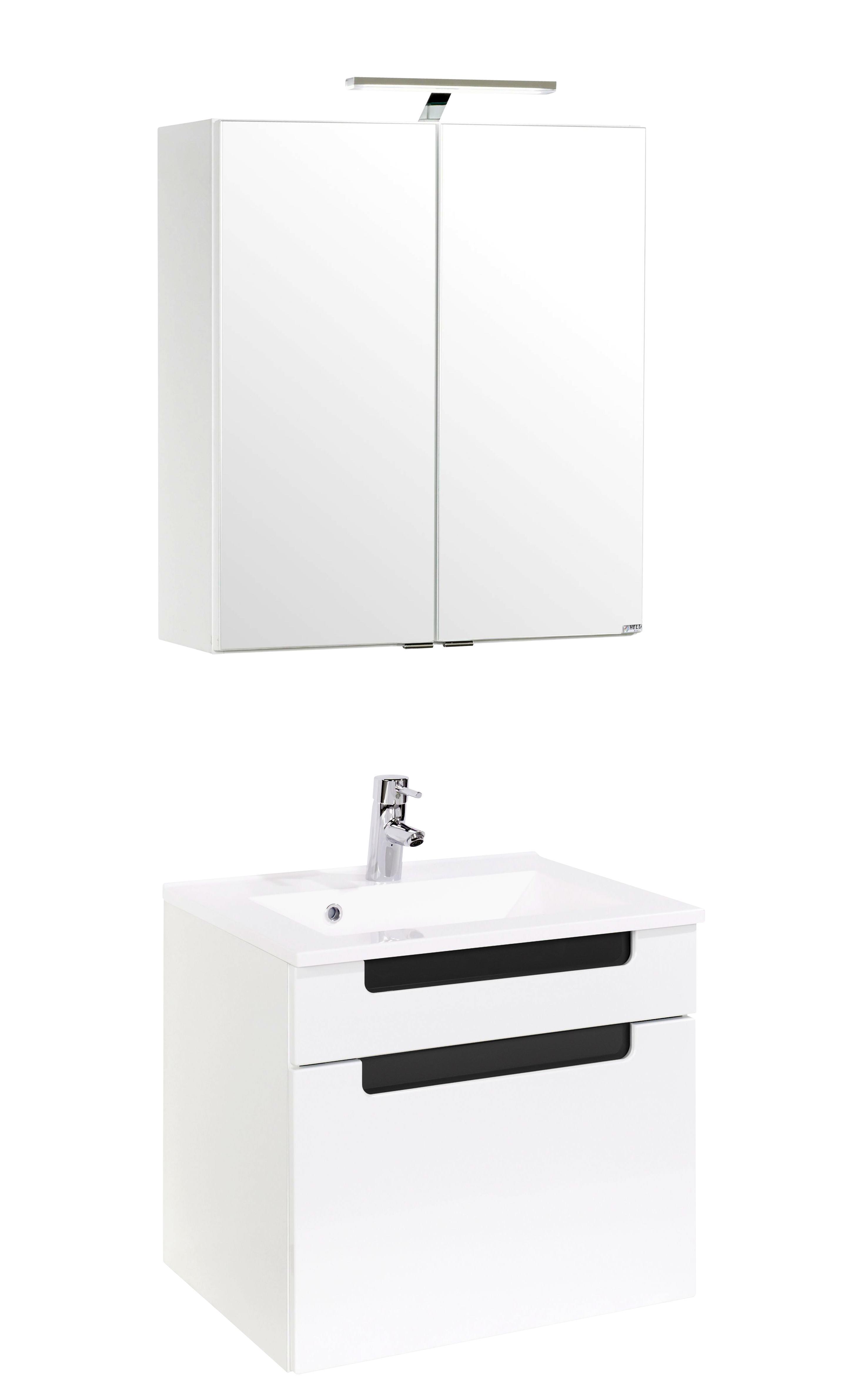 Badezimmer Siena 60cm Weiß/hglz Anthrazit   Anthrazit/Weiß, MODERN,  Holzwerkstoff/