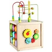 Holzwürfel mit Motorik Schleife - Multicolor, MODERN, Holz (29/29/52cm)