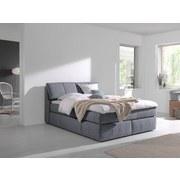 Boxspringbett Rosa 160x200 cm Hellgrau - Hellgrau/Schwarz, MODERN, Textil (160/200cm) - Carryhome