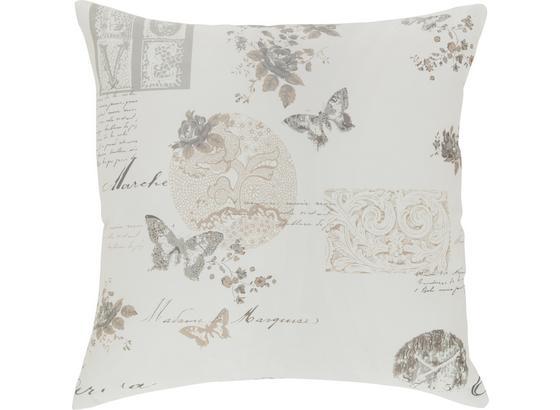 Polštář Ozdobný Fleur - šedá/bílá, Romantický / Rustikální, textil (45/45cm) - Mömax modern living