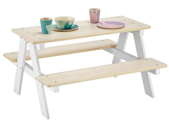 Dětská Souprava Na Sezení V Bílé/přirodní - bílá/přírodní barvy, Konvenční, dřevo (90/50/82cm) - Modern Living