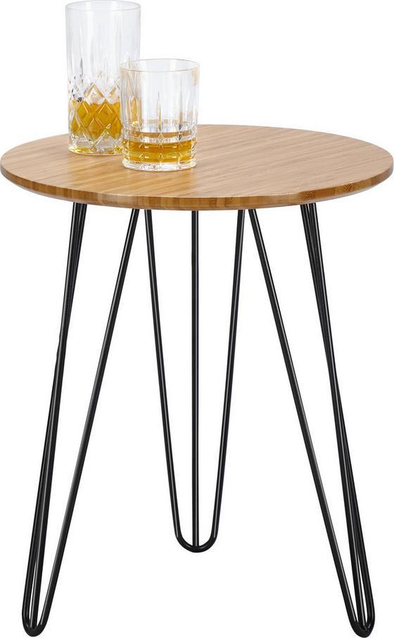 Odkladací Stolík Linda - prírodné farby/čierna, Moderný, kov/drevo (40/46,5cm) - MÖMAX modern living