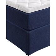 Boxspringbett mit Topper 140x200cm Carolina, Blau - Blau/Schwarz, KONVENTIONELL, Holz/Textil (143/105/209cm) - Carryhome