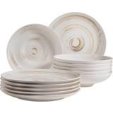 Tafelservice 12-Tlg Tafelservice Derby - Beige/Weiß, Basics, Keramik (32/32/30cm)