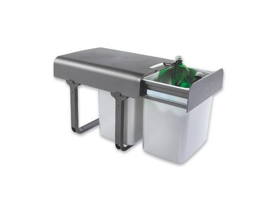 Einbauabfallsammler Ekko - Dunkelgrau/Silberfarben, Kunststoff (35/36/47cm) - HKT