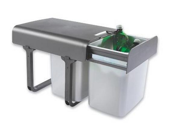 Triedič Odpadu Ekko 2 - tmavosivá/farby striebra, umelá hmota (35/36/47cm)