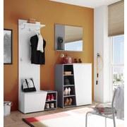 Garderobe Line B: 166 cm Weiß/Grau - Silberfarben/Weiß, Design, Glas/Holzwerkstoff (166/197/40cm) - Xora