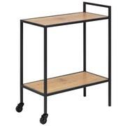 Tabletttisch mit 2 Rollen + Ablagefach Seaford Eichefarben - Eichefarben/Schwarz, Trend, Holzwerkstoff/Metall (60,0/75,0/30,0cm) - Carryhome