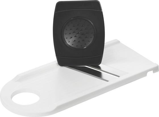 Reibe mit 2 Messern - Schwarz/Weiß, KONVENTIONELL, Kunststoff/Metall (29cm)