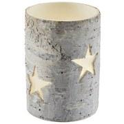 Teelichthalter Wood & Star - Weiß/Grau, MODERN, Holz (11/16cm)