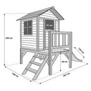 Stelzenspielhaus Holz mit Rutsche Weiß/Rot Sunny Lodge - Rot/Weiß, Holz (261/189/168cm)