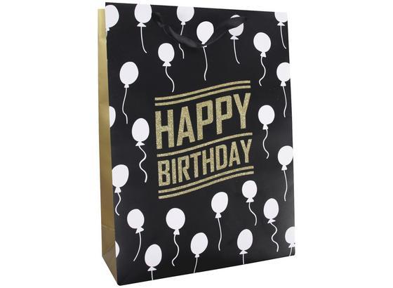 Geschenktasche Golden Birthday M - Goldfarben/Schwarz, MODERN, Karton (32/26/12cm)