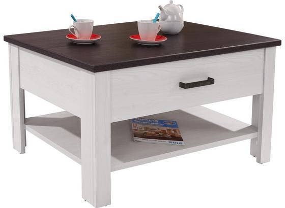 Couchtisch Holz mit Ablagefach +Lade Provence, Dekor - Wengefarben/Weiß, ROMANTIK / LANDHAUS, Holzwerkstoff (105/50,5/70cm) - James Wood